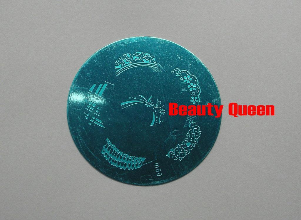 Gute Qualität!! 81 Art-Nagel-Kunst-runder Stempel, der Bild-Platten-Schablonen-Schablone + FREIES STEMPEL-WERKZEUG stempelt