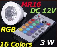 Wholesale Led Mr16 Dc 3w - 5pcs lot DC 12V 3W MR16 16 Colors RGB LED Light Bulb Energy-saving with Remote Control