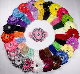 Barato Flores Gerbera Para Fitas-Atacado e varejo Hot vender New Crochet Headbands chapéu + 60pcs Gerbera Daisy Flores / Baby Hairbows, Headbows, 60pcs / lot