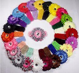 Wholesale Crochet Hairbows - Wholesale and retail Hot sell New Crochet Headbands hat+60pcs Gerbera Daisy Flowers Baby Hairbows,Headbows ,60pcs lot