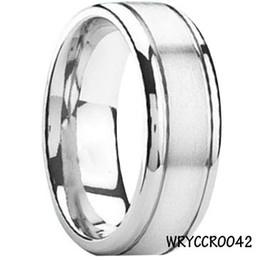 Bande di impegno incise online-Popolare High PolishSatin Cobalt Chrome Rings Engraved Men's Engagement Band 8mm WRCCR0042 Le più vendute