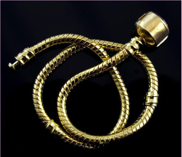 100 stks 16cm-23 cm Golden Plated Bracelet met gladde sluiting Fit Europese kraal Gratis verzending