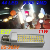 Wholesale E14 44 Led - E27 B22 11W 44 LEDs SMD 5050 led Spotlight Dow Horizontal Light Bulb Lamp White Warm White