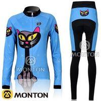 ingrosso bici blu gatto-WOMEN LONG CYCLING JERSEY + PANTALONI BIKE SET ABBIGLIAMENTO 2011 SET GATTO BLU TAGLIA: XS-XL