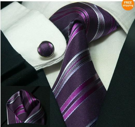 Men's South Korea Silk Tie Set NeckTie Hanky cufflinks Neck Tie +Hanky+Cufflinks+Bar #1994