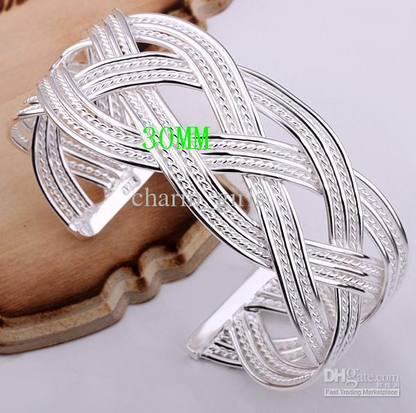 Best-selling Cheapest plating 925 silver Dream Mesh together bangle cuff Bracelet 30MM Tai woven bracelet Fashion jewelry