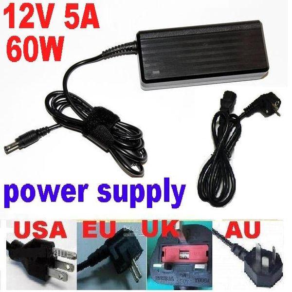 AC DC 100 V-240 V 12 V 5A 60 W Güç Adaptörü Kaynağı 5.5 * 2.5mm LCD veya LED Şerit AU ABD AB İNGILTERE tak