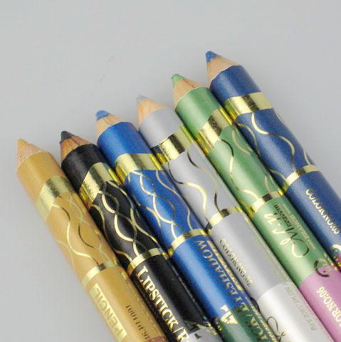 12st / mycket 6 färger Vattentät långvarig 2in1 smaragd läppstift / ögonskugga Penna lätt att bära p11001