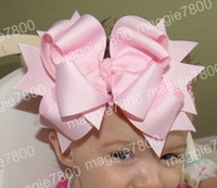 Wholesale Crochet Hairbows - Baby Girls' Boutique hair bow handmade ribbon hairbows hairband with crochet headband A289