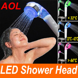 Wholesale Shower Faucet Light - LED Temperature Control 3 Color Green Red Blue Lights Shower Head bath room faucet connector