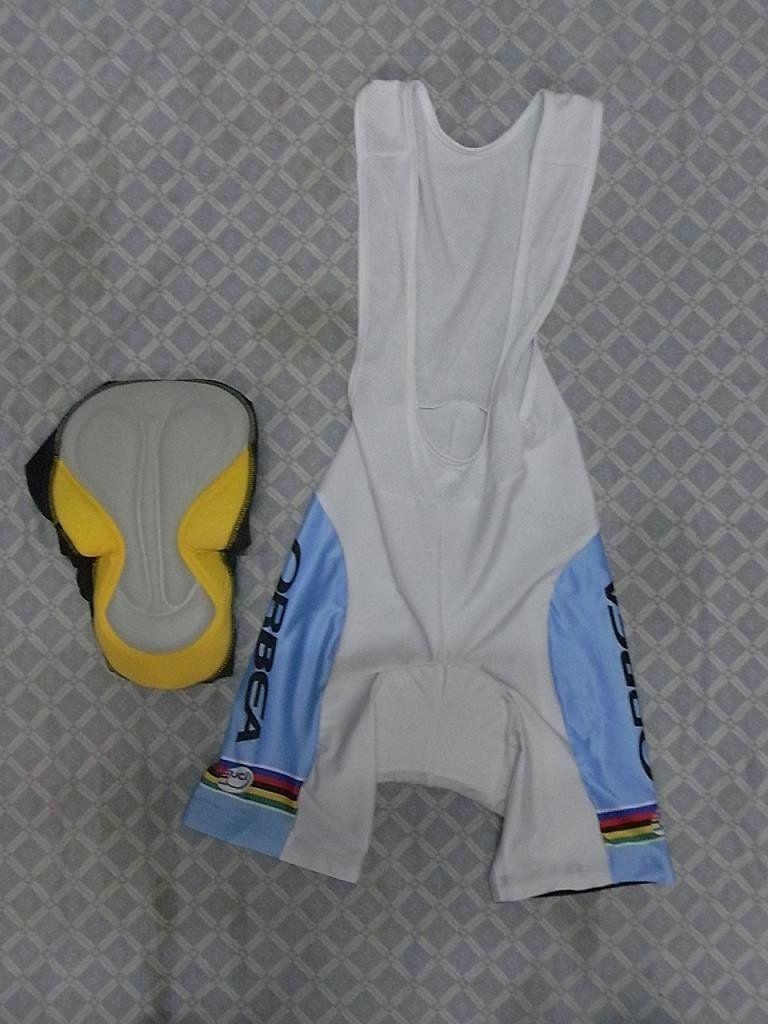 2010 Orbea Teamホワイトサイクリング摩耗ショートスリーブサイクリングジャージ+ BIBショートセットサイズ:XS-4XL O065