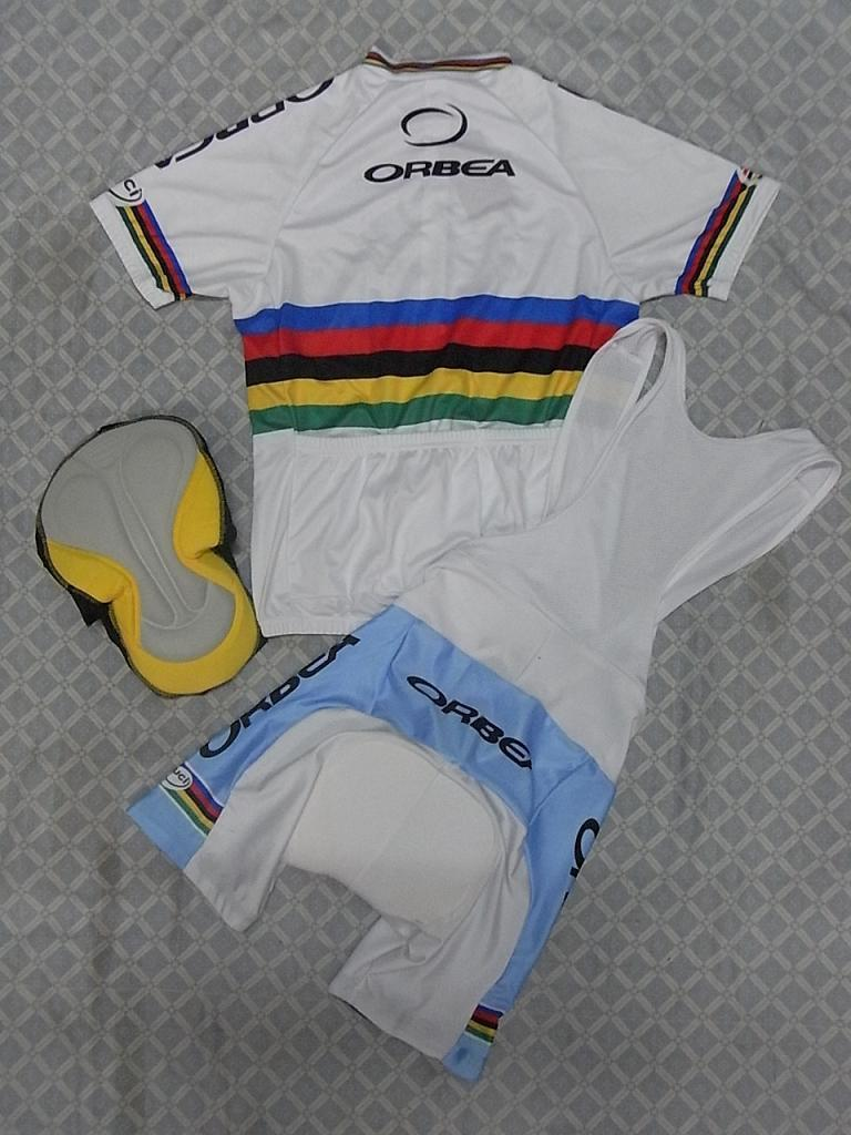 2010 Orbea Team White Cycling Wear Korte Mouw Cycling Jersey + Bib Short Set Maat: XS-4XL O065
