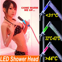 squared thermostats - LED Shower head Color Changing Colorful LED Shower head Temperature Sensor LED Faucet