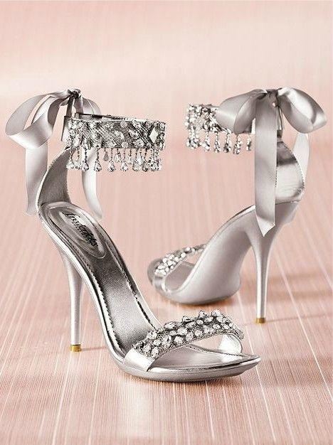 New Fashion Wedding Shoes Silver Rhinestone High Heels Women'S ...