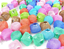 Wholesale Basketball Wives Necklaces - Wholesale 21mm Mix Colors 300pc Mesh Beads,Jewelry Findings Large Hole Beads For Making Basketball Wives Earrings Necklaces