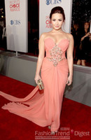 Wholesale Demi Lovato Red Carpet Dresses - 2016 Demi Lovato People's Choice Awards Beaded Actual Images Draped Chiffon Celebrity Pageant Dresses Evening Gowns