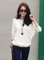 Wholesale Korean Sexy Shorts - MONDE new fashion Korean women T-shirt sexy loose round neck long-sleeved T-shirts blouse white