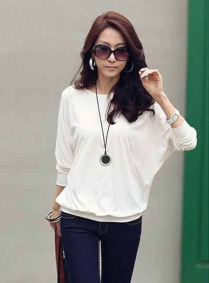 top popular MONDE new fashion Korean women T-shirt sexy loose round neck long-sleeved T-shirts blouse white 2019