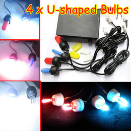 Wholesale Car Headlights Strobe - 4 X Car LED Bulbs Flash Strobe Light Headlights 12V Multi-function U-shaped Free Shiping