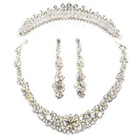 Wholesale Tennis Earrings Necklace - Wow ! Perfect !! Bride's crystal tiers Tiaras , earring and necklace set--RH1008
