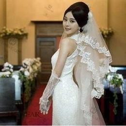 Wholesale Wholesale Cathedral Wedding Veils - Hot Short white   ivory CATHEDRAL ribbon edge MANTILLA wedding veil bridal veil trailing veil 3477