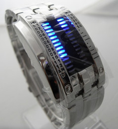 Wholesale Watch Rare - Fashion Rare Date Blue Led Digital Stainless steel Men's Sports Stainless Watch Mens Wrist Watches