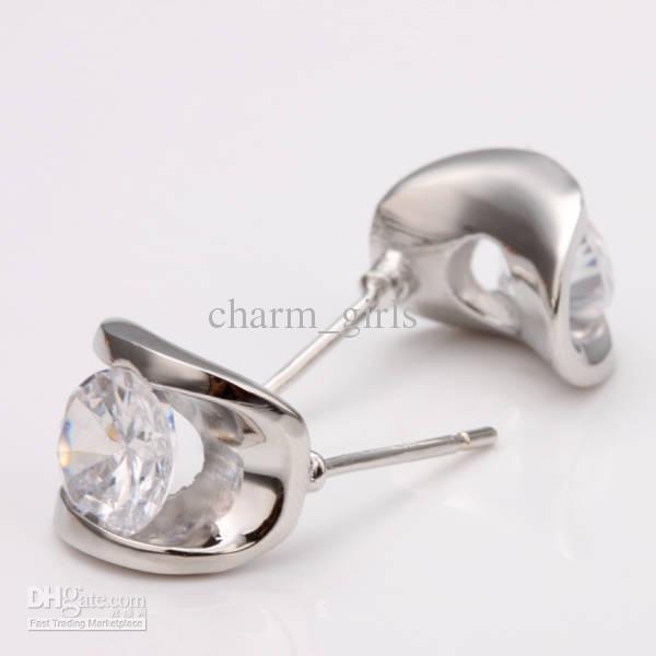 2018 nieuwe best-selling 10 paren veel meisjes mevrouw crystal oorbel 18 k wit gouden diamant kristal oorbellen