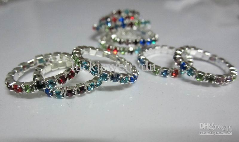 Hotsale Rhinestone Teenring, 12 kleuren stenen gemengd, blingbling voet sieraden