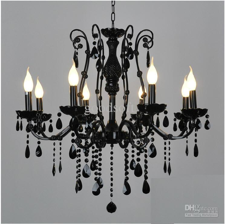 2019 European Black Wrought Iron Crystal Light 6 8 Candle