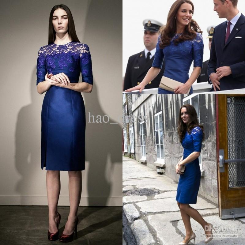 2012 Kate Middleton Blue Column Taffeta Lace Knee Length