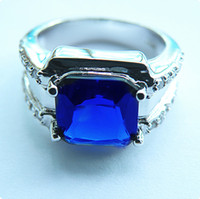 High Quality GORGEOUS 6. 8CT SAPPHIRE 14KT WHITE GOLD MEN'S R...