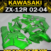 pára-brisas kawasaki venda por atacado-Todos os verdes Kawasaki ninja ZX-12R 2002 2003 2004 02-04 ZX12R 02 03 04 ZX 12R Carenagem completa + pára-brisas