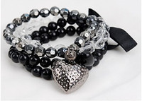 Wholesale Europe Fashion Charm Bead Bracelet - New fashion Europe and America Womens girl multilayer black bowknot peach bracelet bangle hand chain gift