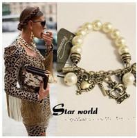 Wholesale Crown Vintage Key - New Vintage Womens girl pearl bead lock key crown pendant Adjustable bracelet bangle hand chain Gift