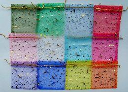pulseiras coloridas Desconto 500 pcs bronzeamento de sacos de fenda sacos de Jóias de Presente Estrelas Lua Brincos Pulseira saco de armazenamento Colorido sacos de gaze 9 * 12 CM