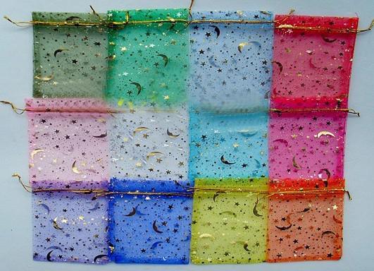 Sacchetti di filato bronzato 500pcs sacchetti di gioielli regalo stelle luna orecchini sacchetto di immagazzinaggio del braccialetto sacchetti colorati garza 9 * 12 cm