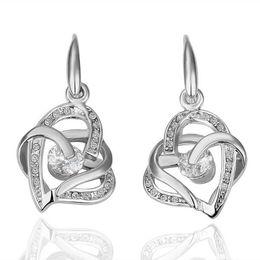 Wholesale Swarovski Shape - Best-selling 20pcs Swarovski crystal Earring 18k White Gold Crystal Heart-shaped Ear hook Earrings