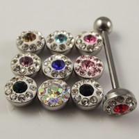 Wholesale Diamond Nipple Rings - 24pcs lot 14G full diamond Tongue Ring navel rings,navel jewely,Belly Rings,bar Tongue Nipple Ring