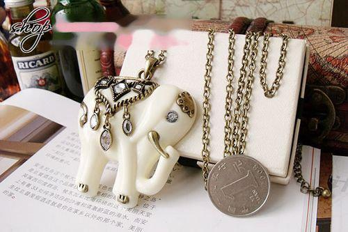Vintage Fashion White Elephant long necklaces sweater chain with simulated diamond New 30pcs/lot
