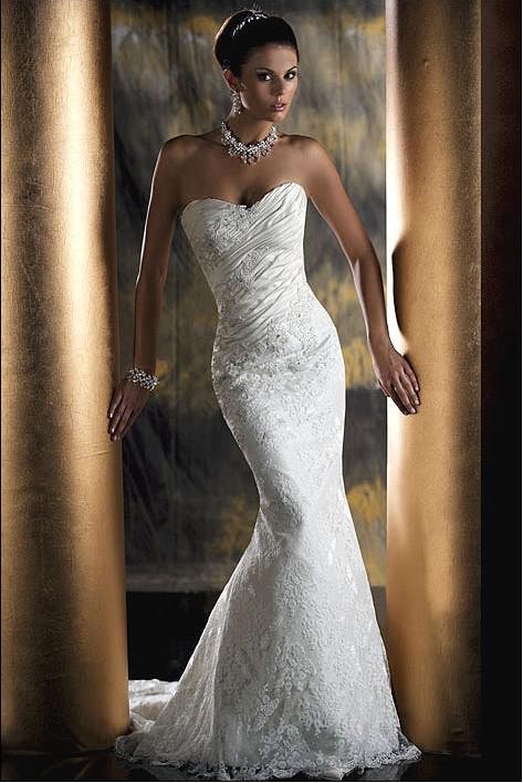 Us Size:4 White Sweetheart Neck Lace Wedding Dress Mermaid Bridal ...