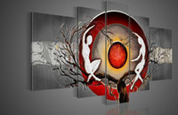 Wholesale Nude Sex Paint Art - Framed 5 Panels 100% Handmade Huge Black White and Red Wall Art Textured Sex Nude Women Naked Oil Painting on Canvas Decoration Home Picture