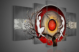 Wholesale Sex Canvas Paintings - Framed 5 Panels 100% Handmade Huge Black White and Red Wall Art Textured Sex Nude Women Naked Oil Painting on Canvas Decoration Home Picture