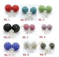Wholesale color ball earring studs - shamballa crystal earring stud 10mm AB clay balls Crystal Paved Disco Ball Earring Assorted color Cheap Wholesale