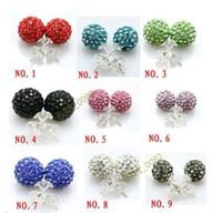 Wholesale crystal disco ball earring shamballa - shamballa crystal earring stud 10mm AB clay balls Crystal Paved Disco Ball Earring Assorted color Cheap Wholesale