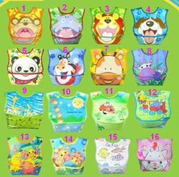 Wholesale Toddler Feeding Smock - Hot!Large Baby PVC Cartoon Bibs Feeding Toddler Bib Pinny Pinafore Pinnies Smocks Saliva Towel Shawl