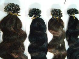 "Wholesale Dark Auburn Wavy Hair Extensions - MIRACLE 18"" 100g 1g s brown wavy U tip nail REMY hair prebonded keratin hair extensions INDIAN"
