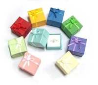Wholesale Earrings Pc Mix - 48 pcs mixed colors cheap price silver jewelry rings earring stud paper boxes gift package small ring box wholesale free shipping