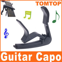 Wholesale Aluminium Capo - Black Aluminium alloy Tune Quick Change Clamp Key Capo For Electric Guitar I59B