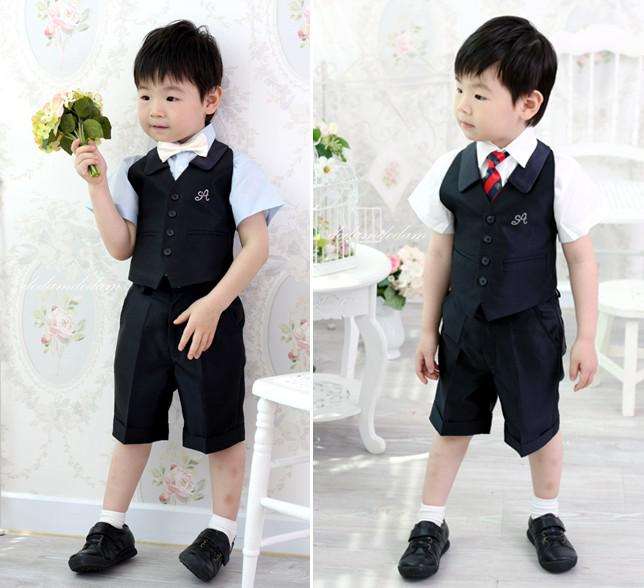 The Little BoyS Black Gilet Suit Wedding Dress Boy Flower Pants Bow TieNo5 Formal Wear Separates Shops From King777