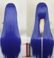 Wholesale Blue Tail Cosplay - Fairy Tail Cosplay Blue Straight Party PURPLE Blue Wig FULL WIGS Five color choices